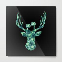 Cactus Flowers Deer Head - black background Metal Print