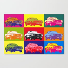 Mustang V8 1967 pop art inspired by A.W Canvas Print