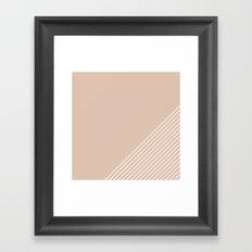 White & Pink Stripes Framed Art Print