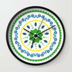 Green suzani inspired floral round placement Wall Clock