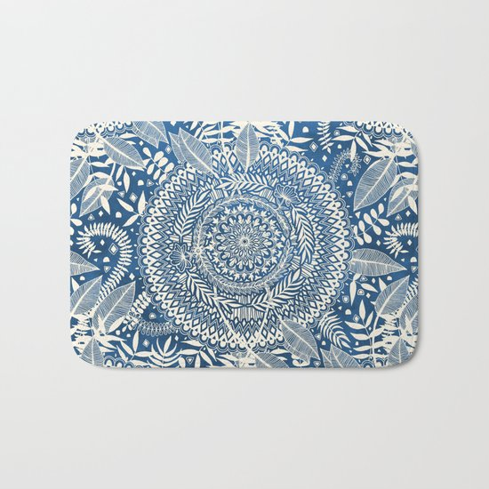 Diamond and Doodle Mandala On Blue Bath Mat