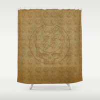 grateful dead Shower Curtains featuring Vintage Grateful Dead Steal Your Face Pattern by Studio 535