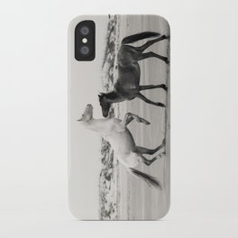 Wild Horses 5 - Black and White iPhone Case