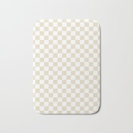 Small Checkered - White and Pearl Brown Bath Mat