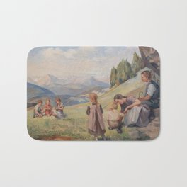 Family image that stands on mountain meadows Bath Mat