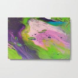 Fluid Art Acrylic Painting, Pour 14, Purple, Green, Pink & Blue Blended Colors Metal Print