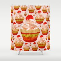 cupcakes Shower Curtains featuring Cupcakes by Alexandra Baker