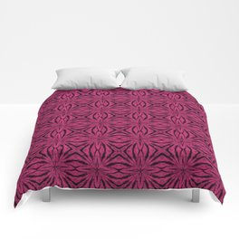 Black and Pink Yarrow Floral Comforters