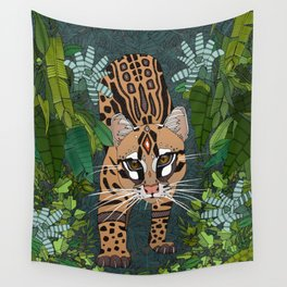 ocelot jungle nightshade Wall Tapestry