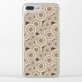 Overlapping Circles in Tans on Brown Clear iPhone Case