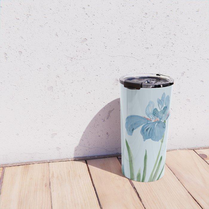 Blue Iris and Bee Travel Mug