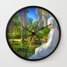 Neon Buddha Wall Clock