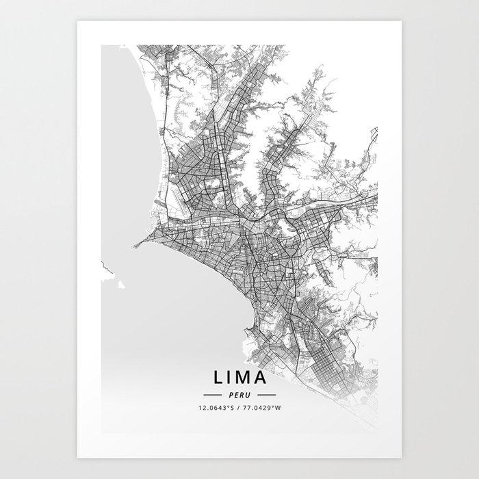 Lima, Peru - Light Map Kunstdrucke