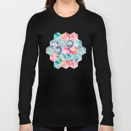 Translucent Watercolor Hexagon Cubes Long Sleeve T-shirt