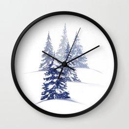 Snowy Winter Evergreens—Blue Wall Clock