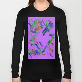 Decorative Green-Purple Dragonfly Lilac Skies Abstract Design Long Sleeve T-shirt