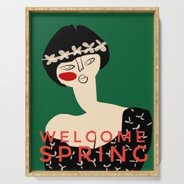 """Girl with flower crown- with caption """"Welcome Spring"""" Serving Tray"""