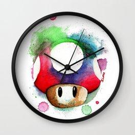mushroom Watercolor Super Mario UP Wall Clock