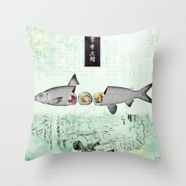 fresh sushi Throw Pillow