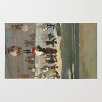 homer Area & Throw Rugs featuring Beach Scene - Winslow Homer  by BravuraMedia