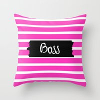 boss Throw Pillows featuring Boss by msstephiebaby