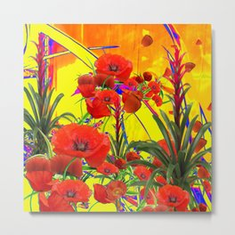 MODERN TROPICAL FLOWERS GARDEN DESIGN IN YELLOW-ORANGE COLORS Metal Print