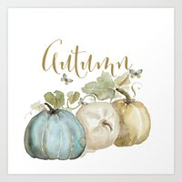 craftberrybush Art Prints featuring Autumn pumpkins  by craftberrybush
