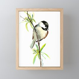 Chickadee on Willow, minimalist bird artwork chickadee painting Framed Mini Art Print