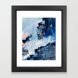 Vibes: an abstract mixed media piece in blues and pinks by Alyssa Hamilton Art Framed Art Print
