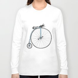Blue Penny Farthing Long Sleeve T-shirt