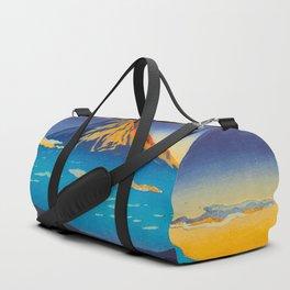 Tsuchiya Koitsu Tokaido Fujikawa Japanese Woodblock Print Sunset Colorful Hues Mountain Landscape Duffle Bag