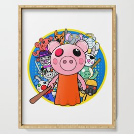 Cute Piggy with friends Serving Tray