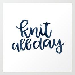 Knit All Day - Navy Art Print