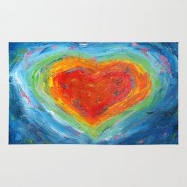 Rainbow Heart Healing Rug