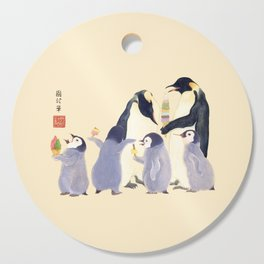 Emperor Penguin Family in the summer of Japan Cutting Board