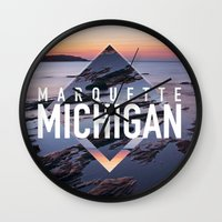postcard Wall Clocks featuring Marquette Postcard by ztwede