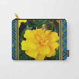 DECORATIVE TEAL & YELLOW  MARIGOLD FLORAL  PATTERN Carry-All Pouch
