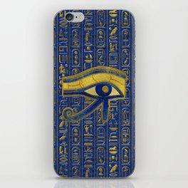 Gold Egyptian Eye of Horus - Wadjet Lapis Lazuli iPhone Skin