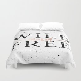 Wild and Free Rose Gold on White Duvet Cover