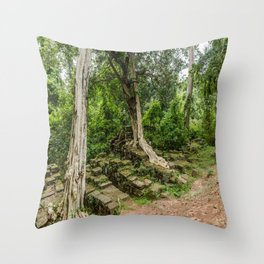 Strangler Fig Trees and Stones in the Angkor Archaeological Park, Siem Reap, Cambodia Throw Pillow