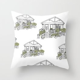 White Green House Throw Pillow