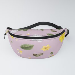 Yellow Flowers & White Roses 4 Fanny Pack