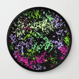 Misc shapes on a black background Wall Clock