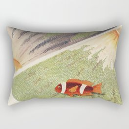 Vintage Great Barrier Reef and Clown Fish Illustration Rectangular Pillow