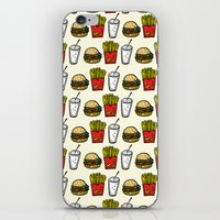 junk food iPhone & iPod Skins featuring Junk Food Pattern by mebz art