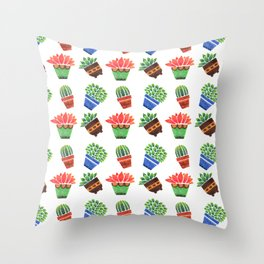 Whimsical orange green watercolor hand painted cactus floral Throw Pillow