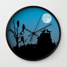 Wolves and crows Wall Clock