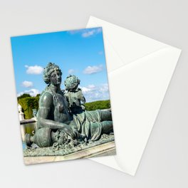 Bronze statue 'Nymphe et amour tenant un carquois' in Versailles Gardens Stationery Cards