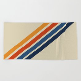 Retro 70s Stripe Colorful Rainbow Tan Classic Vintage Beach Towel