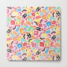 Rainbow Diet - a colorful assortment of hand-drawn candy on pale pink Metal Print